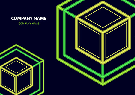 Company logo icon design template element. Logo in the form of a hexagon, a cube in a cube on a dark background. Vector illustration for your corporate design. Ilustracja