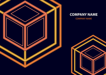 Company logo icon design template element. Logo in the form of a hexagon, a cube in a cube on a dark background. Vector illustration for your corporate design. Ilustração