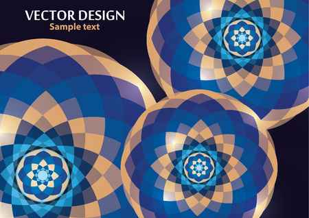 Bright vector ornament pattern with colorful details on a dark background. Template for any surface. Elegant background with oriental ornaments of mandalas. Vector illustration Ilustração