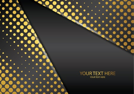 Bright halftone dots on a dark background. Luxury poster background template. 3d advertising modern graphic design. Vector illustration