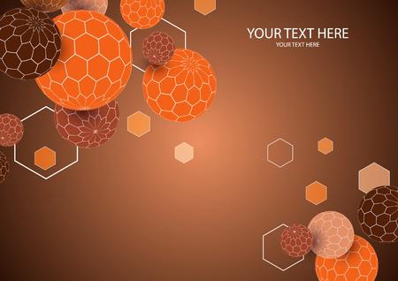 Bright geometric 3d sphere shape hexagon texture background. Vector illustration for your design.