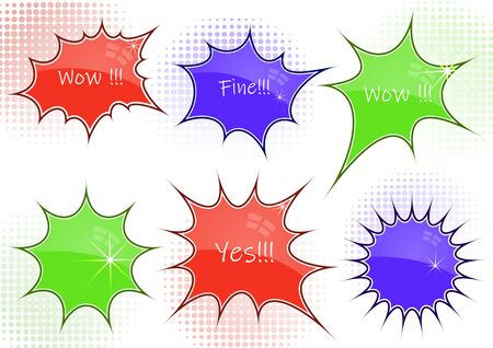 Set of abstract chat label, comic cloud of thoughts. Interesting facts, conversations, cries of surprise, joy, shortcuts in knowledge bases and banners with frequently asked questions on social networks. Vector illustration