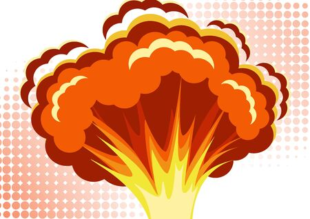 Cartoon vector bomb explosion with smoke. Cartoon style effect boom, explosion flash, bomb comic. Explosion with fire and cloud. Vector illustration