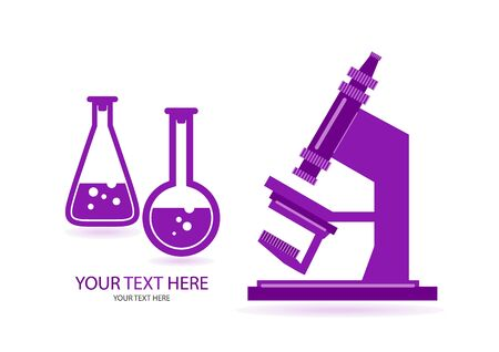 Abstract microscope background with the study of bacteria, molecules, substances. Science, education, chemistry, experiment, laboratory concept. Vector illustration for your design.