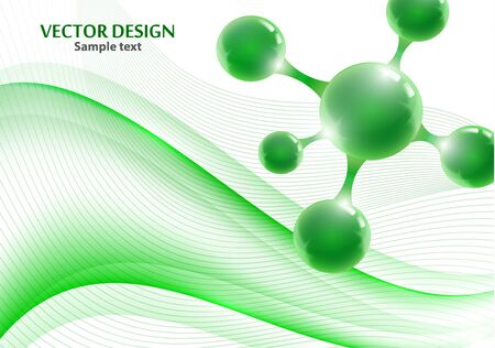 Abstract scientific molecule background for medicine, science, technology, chemistry. Waves flow. Design wallpaper or banner. Vector geometric dynamic illustration