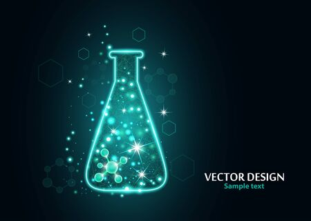 Test laboratory flask with the frame grid made of points, lines and forms. Vector illustration art style design on a dark background. Medicine, biology, chemistry poster banner template with copy space. Vettoriali