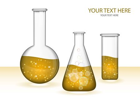 Abstract transparent glass flasks with liquid isolated on white background. Chemical and biological experiments. Vector illustration for your design.