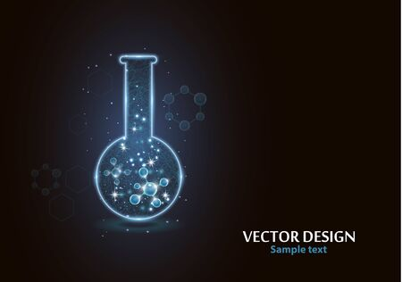Test laboratory flask with the frame grid made of points, lines and forms. Vector illustration art style design on a dark background. Medicine, biology, chemistry poster banner template with copy space. Stock Illustratie