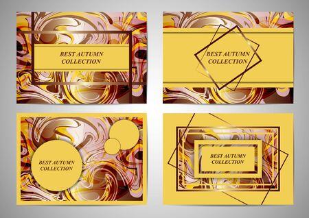Set. Modern colorful flow poster. Wave Liquid form color background. Art design for your project cover design, business banner, poster, presentation and flyer. Vector illustration Иллюстрация