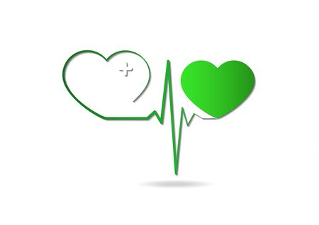 Heart icon with pulse line on white background. Medical icon. Modern simple design. Vector illustration for your design. Stock Vector - 128427165