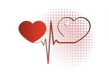 Icona del cuore con linea di impulso su priorità bassa bianca. Icona medica. Design semplice moderno. Illustrazione vettoriale per il tuo design.