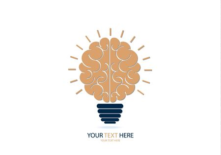 Human brain in lightbulb idea concept flat icon isolated on white background vector illustration