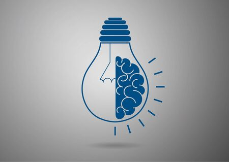 half light bulb and brain isolated on gray background. Symbol of creativity, concept of idea, mind, thinking. Vector illustration for your design.