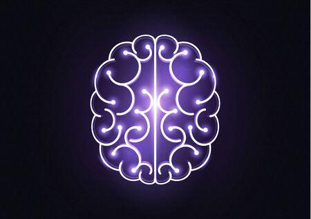 Menschliches Gehirn in der flachen Ikone des Glühbirnenideenkonzeptes lokalisiert auf weißer Hintergrundvektorillustration Vektorgrafik
