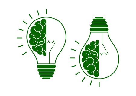 Set. Human brain in a light bulb idea concept flat icon isolated on white background. Vector illustration 矢量图像