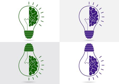 Set. Human brain in a light bulb idea concept flat icon isolated on white and gray background. Vector illustration Ilustração