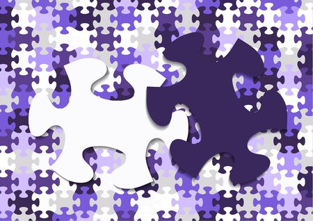 Abstract background from bright puzzle pieces. The composition is a complete puzzle and two separate puzzle elements on top. Vector illustration for your design. Çizim