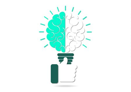 Abstract light bulb inside the brain, thumb up. Concept of idea, business success. Vector illustration in flat design style.
