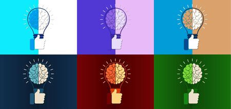 Abstract light bulb inside the brain, thumb up. Concept of idea, business success. Vector illustration in flat design style. Stock fotó - 128326495