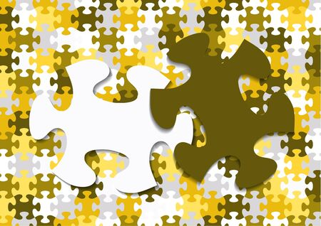 Abstract background from bright puzzle pieces. The composition is a complete puzzle and two separate puzzle elements on top. Vector illustration for your design. Ilustração