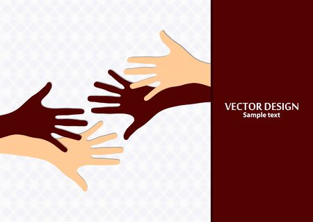 Raised hands, open palms. The concept of charity, volunteering, love, goodness, equality, racial and social issues. Vector illustration for your design.
