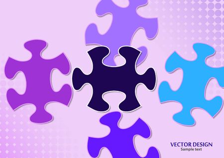 Abstract background from bright puzzle pieces. The composition is an unfinished puzzle. Vector illustration for your design.  イラスト・ベクター素材