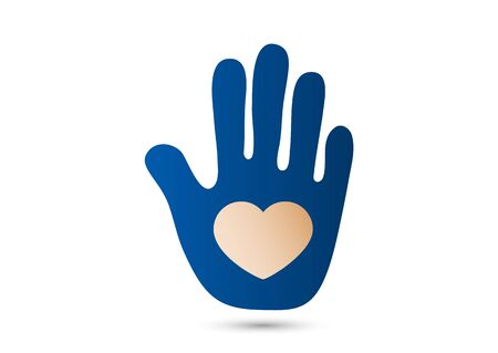 Heart in the open palm. Icon, flat design. The concept of charity, volunteering, love, kindness, family, social problems. Vector illustration for your design.