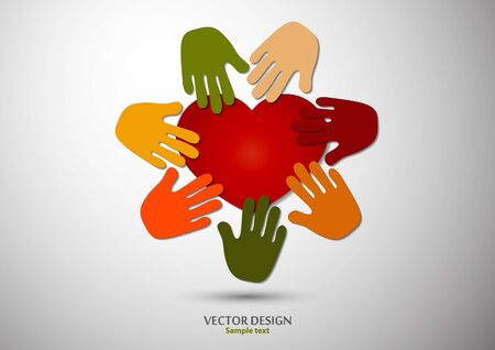 Heart, open palms. Icon, flat design. The concept of charity, volunteering, love, kindness, family, social problems. Vector illustration for your design.