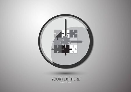 Abstract clock isolated on a gray background. The concept of control and time management, planning, strategy. Organization of the process of collaboration. Vector illustration for business design.
