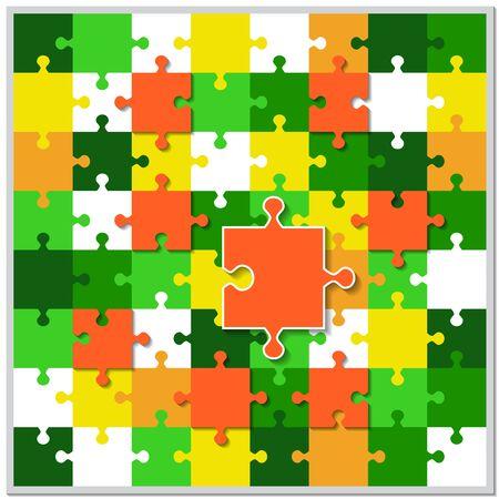 Abstrakter Hintergrund aus hellen Puzzleteilen. Die Zusammensetzung ist ein vollständiges Puzzle. Vektorillustration für Ihr Design.