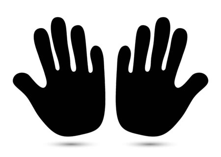 Hand icon. Helping hands silhouette on a white background. Warning gesture with an open palm label. Vector illustration for your design. Ilustrace