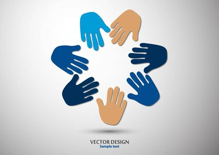 Human hands, open palms. The concept of charity, volunteering, love, kindness, family, social problems. Vector illustration for your design.