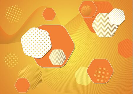 Bright modern abstract background of hexagons, dots and wave lines. Business template for brochure, cover, banner, flyer. Vector illustration for your design. Çizim