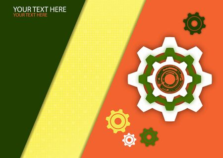 Bright abstract geometric background, gear wheel. Business template for brochure, cover, banner, flyer. Vector illustration for your corporate design.bstract technology background