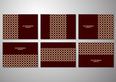 Stylish geometric pattern in oriental style. Modern set of decorative templates for brochure, flyer, cover, poster, business card. Corporate design. Vector illustration