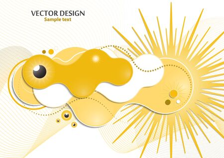 Creative fluid style, flowing dynamic shapes on a white background, sun, rays, pupil of the eye. Poster, banner, flyer, cover, print, promotion, greeting, advertising. Vector illustration for your