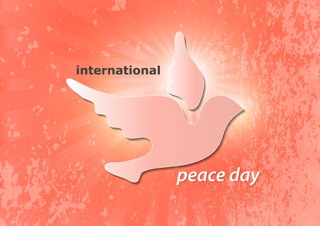 Poster for World Peace Day. The concept of a dove of peace. A symbol of freedom and peace without war. Vector illustration