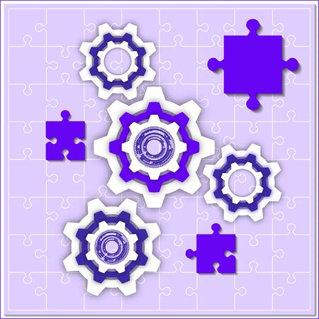 Finished puzzles and gear. The concept of teamwork, cooperation and partnership. Flat design. Vector illustration for your business design. Çizim