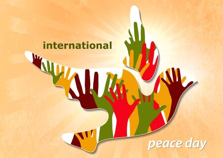 Poster for World Peace Day. The concept of a dove of peace and a human hand. A symbol of freedom and peace without war. Vector illustration Ilustração