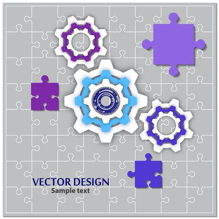 Finished puzzles and gear. The concept of teamwork, cooperation and partnership. Flat design. Vector illustration for your business design. Ilustracja