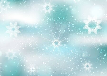 Winter, snow, snowflakes, glare. Creative abstract christmas background. Vector illustration for your design. Stock Illustratie