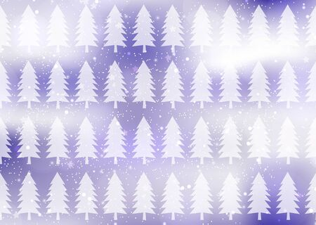 Winter, snow, Christmas trees, glare. Creative abstract christmas background. Vector illustration for your design.