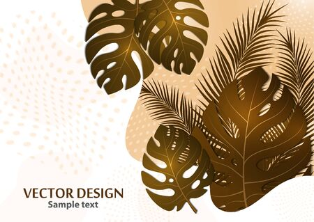 Abstract tropical background with palm leaves, monstera. Composition with exotic plants on a bright background. Template for your design. Vector illustration.