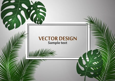 Abstract background, bright exotic monstera leaves and palm leaves on a gray background. Template with place for text. Vector illustration for your design. 版權商用圖片 - 130098427