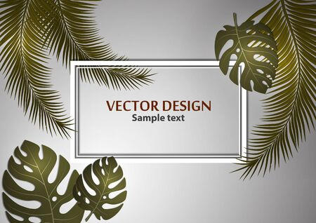 Abstract background, bright exotic monstera leaves and palm leaves on a gray background. Template with place for text. Vector illustration for your design.  イラスト・ベクター素材