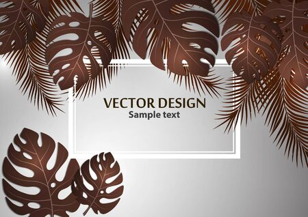 Abstract background, bright exotic monstera leaves and palm leaves on a gray background. Template with place for text. Vector illustration for your design. Иллюстрация
