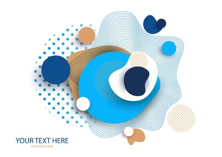 Dynamic color shapes and lines. Abstract composition with flowing liquid forms on a white background. Template for design banner, flyer or presentation. Vector illustration.