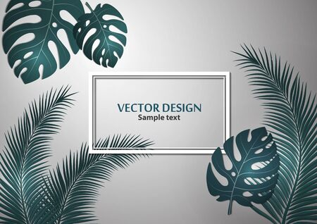 Abstract background, bright exotic monstera leaves and palm leaves on a gray background. Template with place for text. Vector illustration for your design. 版權商用圖片 - 130098489