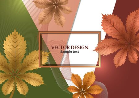 Abstract background, chestnut leaves on a bright geometric background. Template with place for text. Vector illustration for your design. Illusztráció