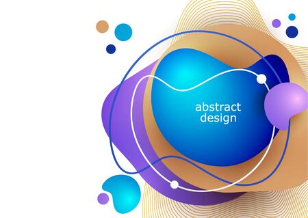 Design template in trendy vibrant colors with abstract shapes of liquid, paint splashes. Futuristic posters, banners, brochures, flyers and covers. Vector illustration for your design.